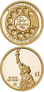 1 dollar coin Massachusetts - the invention of the telephone | USA 2020