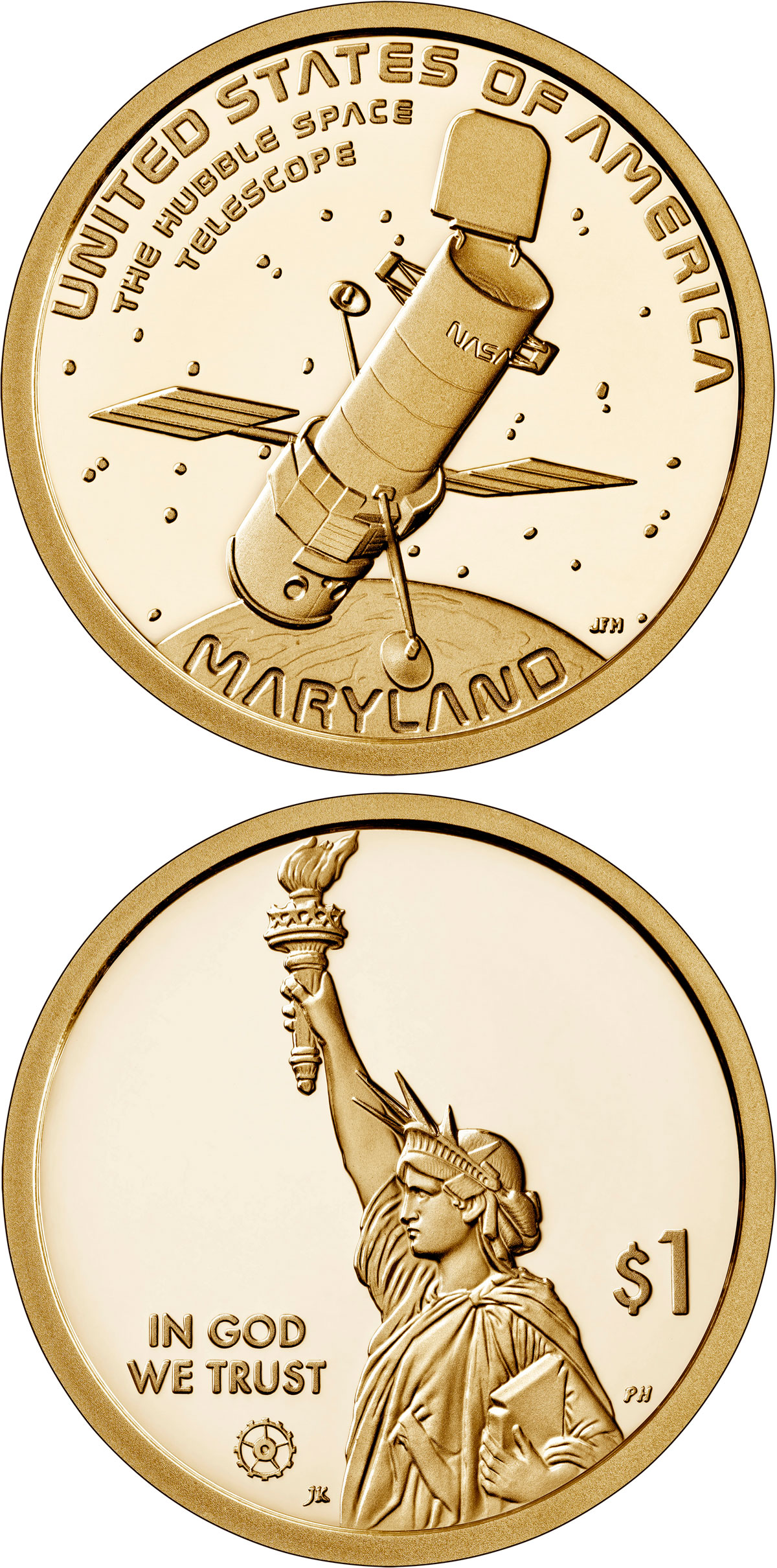 Image of 1 dollar coin - Maryland - Hubble Space Telescope | USA 2020.  The Nordic gold (CuZnAl) coin is of Proof, BU, UNC quality.