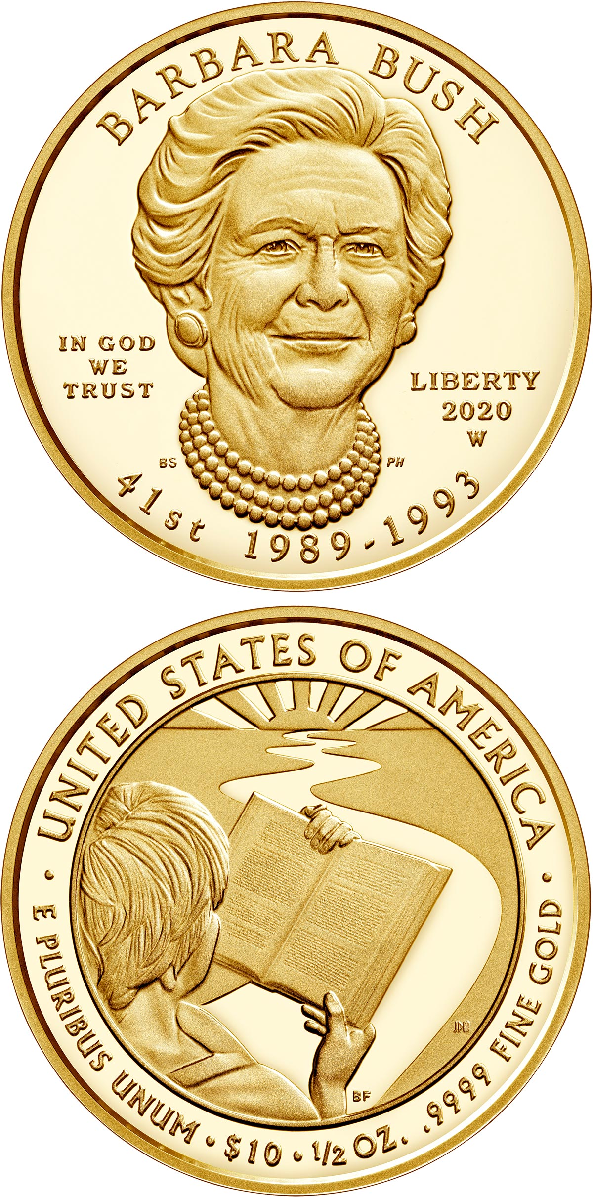 Image of 10 dollars coin - Barbara Bush | USA 2020.  The Gold coin is of Proof, BU quality.