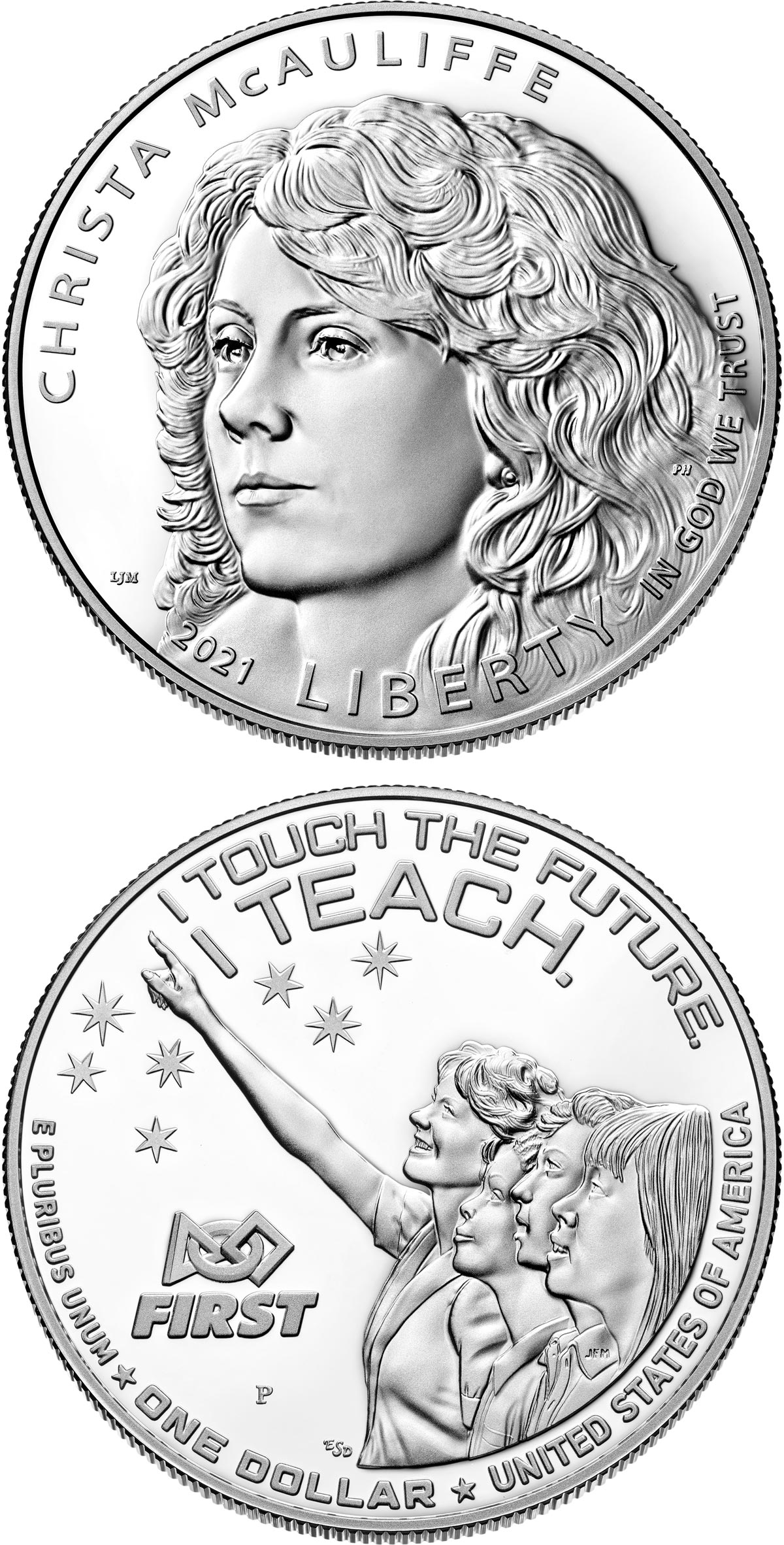 Image of 1 dollar coin - Christa McAuliffe | USA 2021.  The Silver coin is of Proof, BU quality.