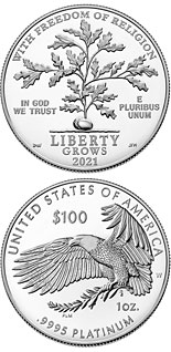 100 dollar coin Freedom of Religion | USA 2021