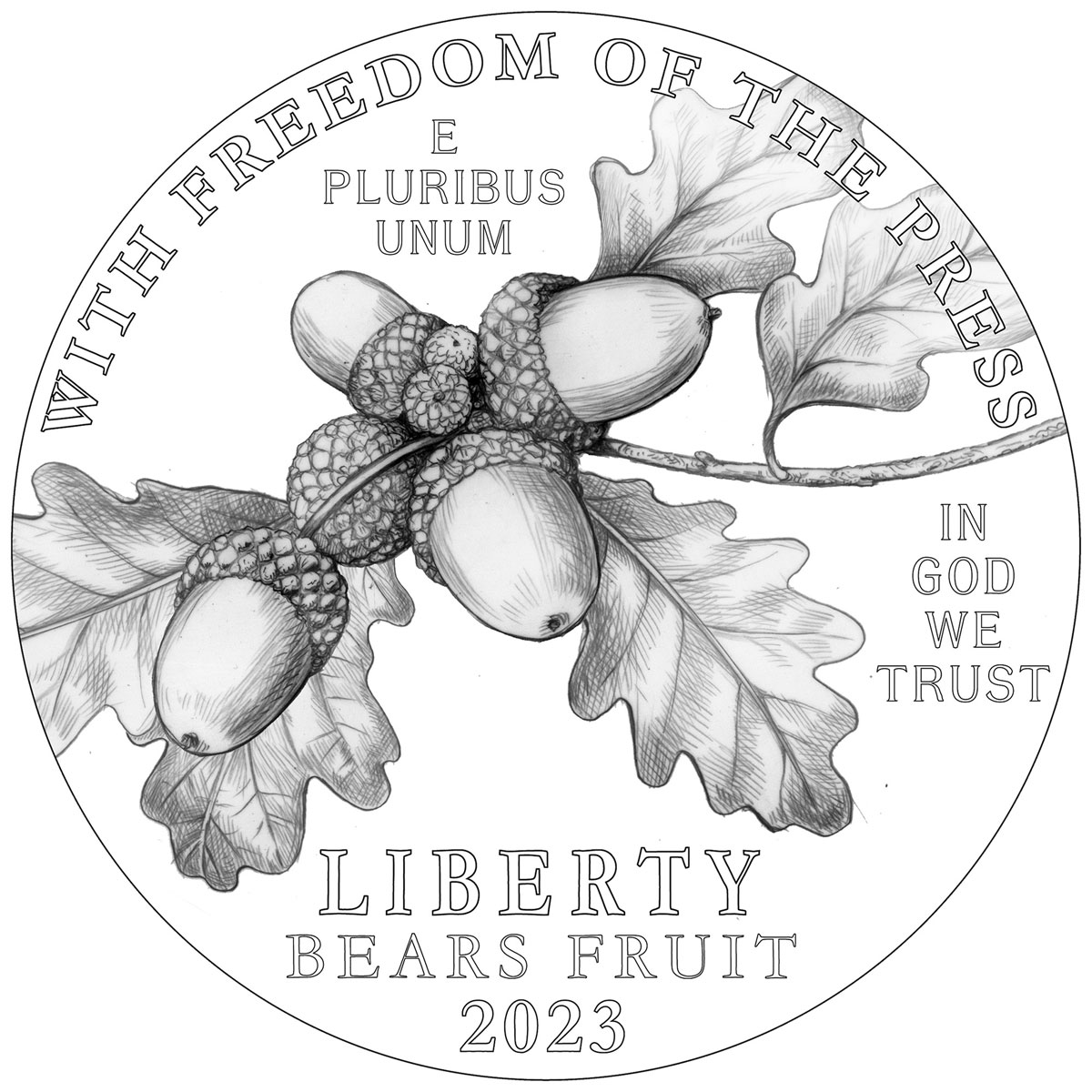Image of 100 dollars coin - Freedom of the Press | USA 2023.  The Platinum coin is of Proof quality.