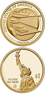 1 dollar coin Virginia - The Chesapeake Bay Bridge-Tunnel | USA 2021