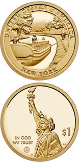 1 dollar coin New York - The Erie Canal | USA 2021