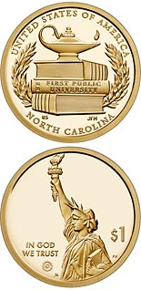 1 dollar coin North Carolina - The first public institution of higher learning in the United States | USA 2021