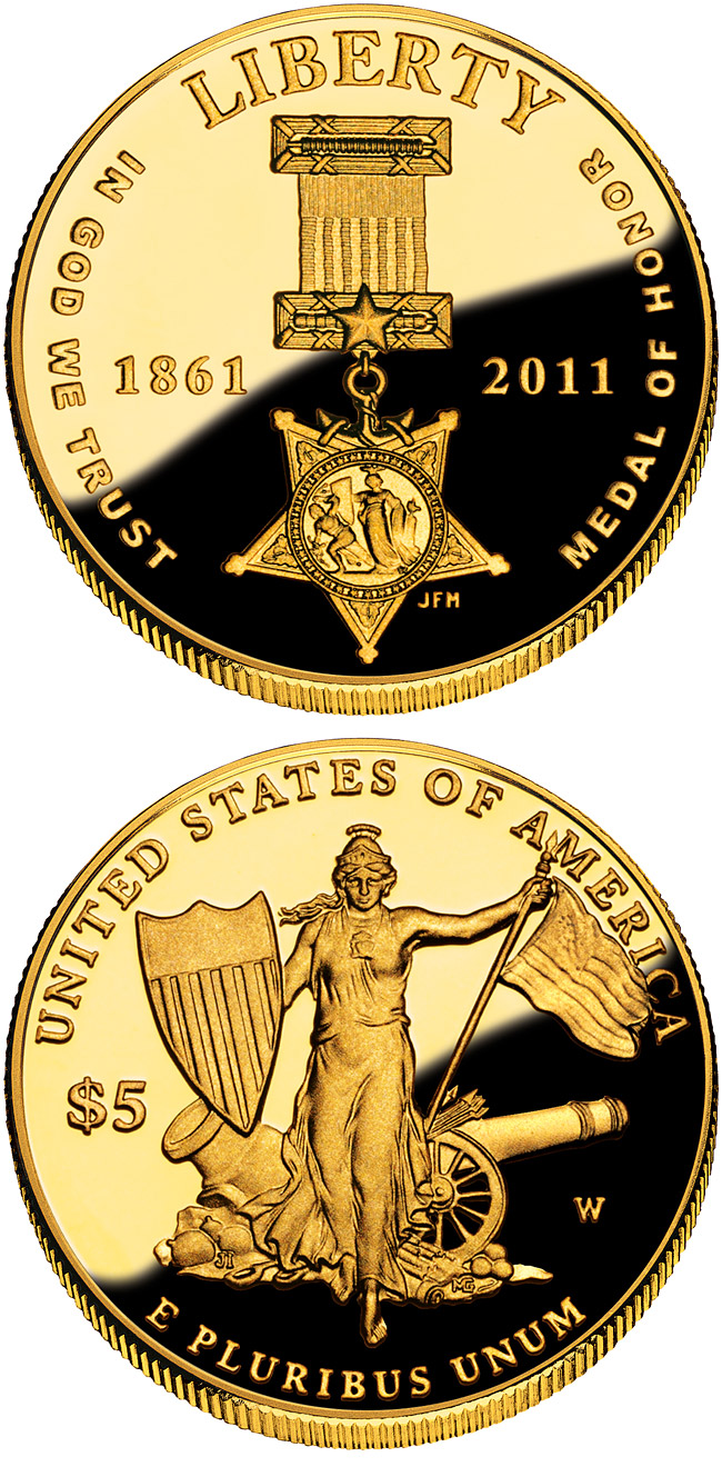 Image of 5 dollar coin Medal of Honor | USA 2011.  The Gold coin is of Proof, BU quality.