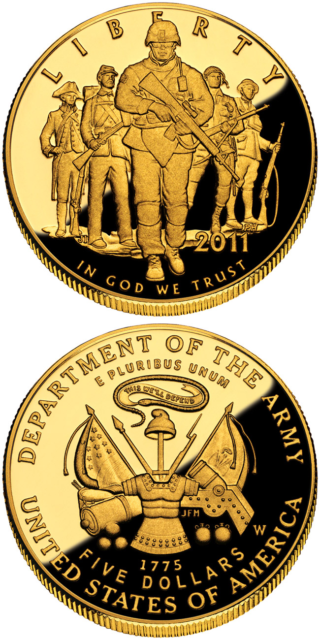 Image of 5 dollars coin - United States Army  | USA 2011.  The Gold coin is of Proof, BU quality.