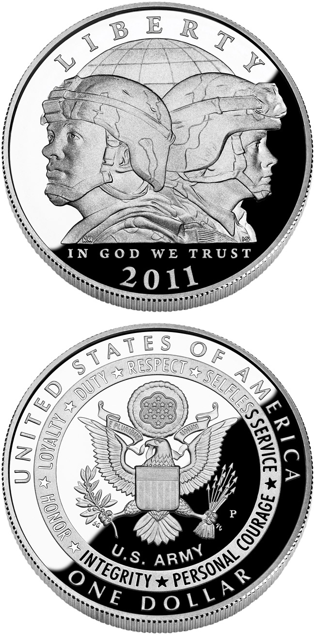 Image of 1 dollar coin United States Army  | USA 2011.  The Silver coin is of Proof, BU quality.