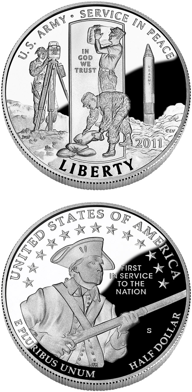 Image of 0.5 dollar coin – United States Army  | USA 2011.  The Copper–Nickel (CuNi) coin is of Proof, BU quality.