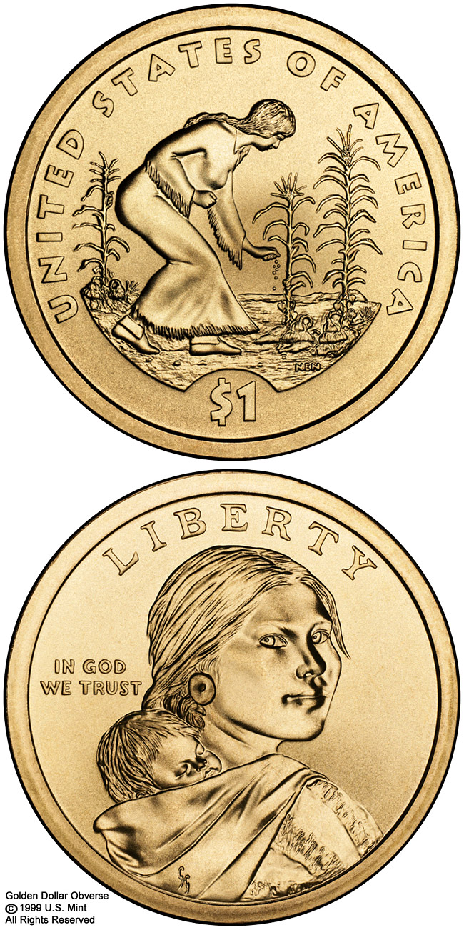 Image of 1 dollar coin – Spread of Three Sisters Agriculture  | USA 2009.  The Nordic gold (CuZnAl) coin is of Proof, UNC quality.