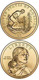 1 dollar coin Spread of Three Sisters Agriculture  | USA 2009