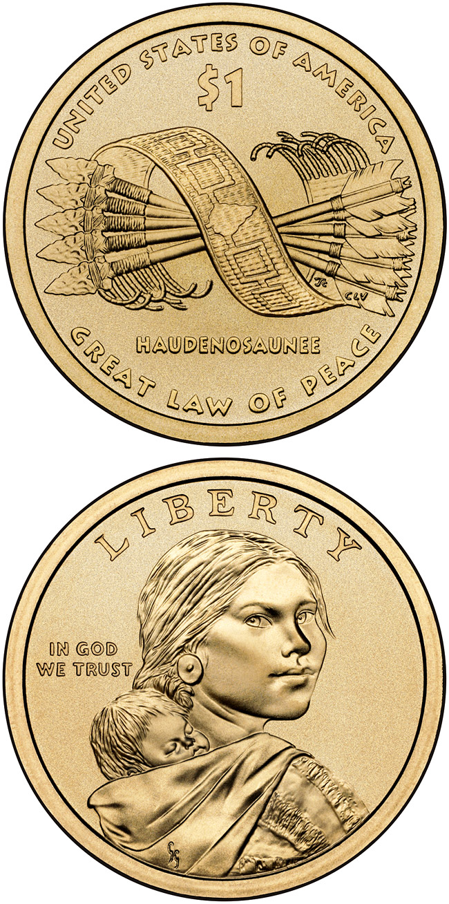 Image of Great Tree of Peace  – 1 dollar coin USA 2010.  The Nordic gold (CuZnAl) coin is of Proof, UNC quality.