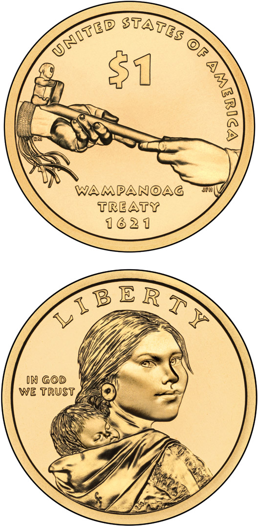 Image of 1 dollar coin - Diplomacy—Treaties with Tribal Nations  | USA 2011.  The Nordic gold (CuZnAl) coin is of Proof, UNC quality.