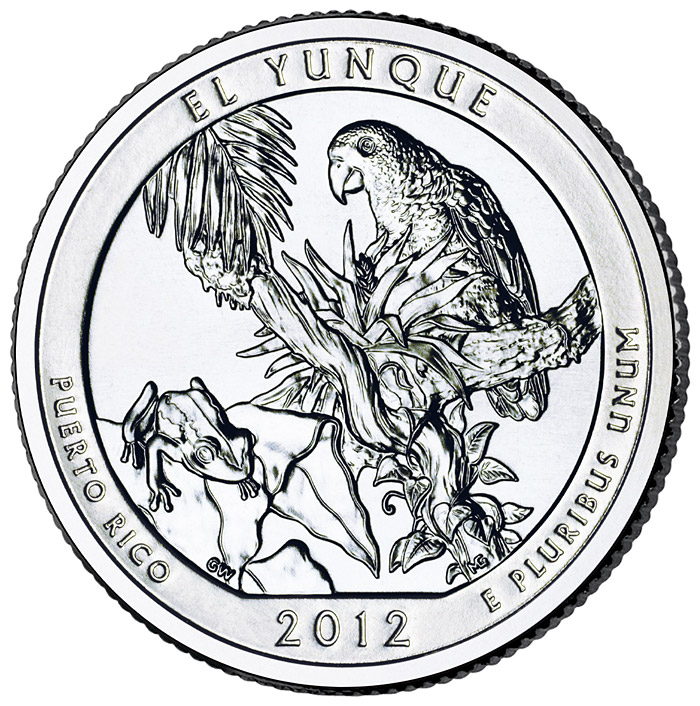 Image of 25 cents coin – El Yunque National Forest  – Puerto Rico | USA 2012.  The Copper–Nickel (CuNi) coin is of Proof, BU, UNC quality.