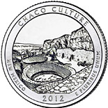 25 cents Chaco Culture National Historical Park – New Mexico - 2012 - Series: America the Beautiful Quarters - USA