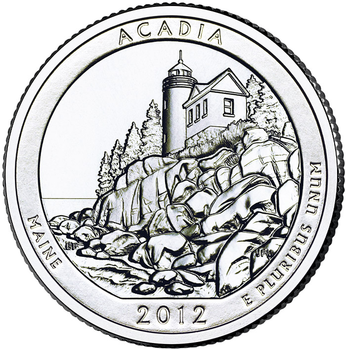Image of 25 cents coin – Acadia National Park – Maine | USA 2012.  The Copper–Nickel (CuNi) coin is of Proof, BU, UNC quality.