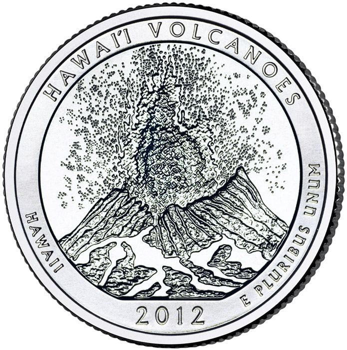 Image of 25 cents coin - Hawaii Volcanoes National Park  – Hawaii | USA 2012.  The Copper–Nickel (CuNi) coin is of Proof, BU, UNC quality.