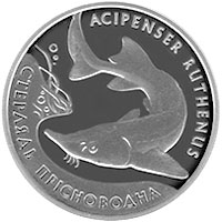 Image of 10 hryvnia  coin - The Sterlet | Ukraine 2012.  The Silver coin is of Proof quality.