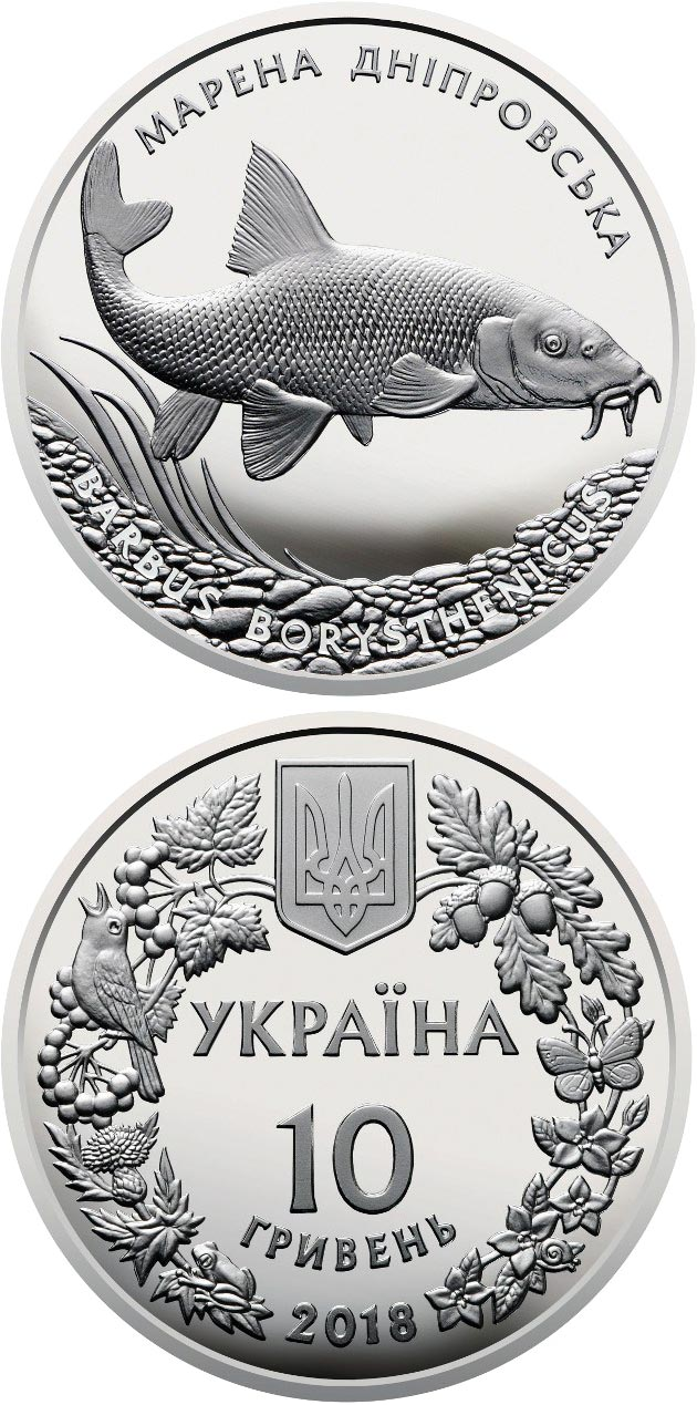 Image of The Dnieper Barbel – 10 hryvnia  coin Ukraine 2018.  The Silver coin is of Proof quality.