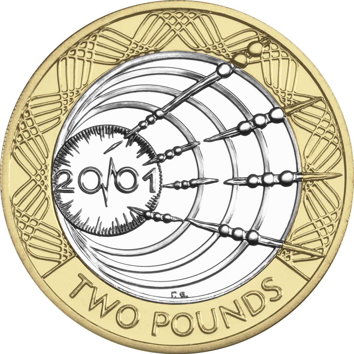 Image of 2 pounds coin - Transatlantic radio centenary | United Kingdom 2001.  The Bimetal: CuNi, nordic gold coin is of Proof, BU, UNC quality.