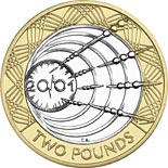 Image of Transatlantic radio centenary – 2 pound coin United Kingdom 2001.  The Bimetal: CuNi, nordic gold coin is of Proof, BU, UNC quality.