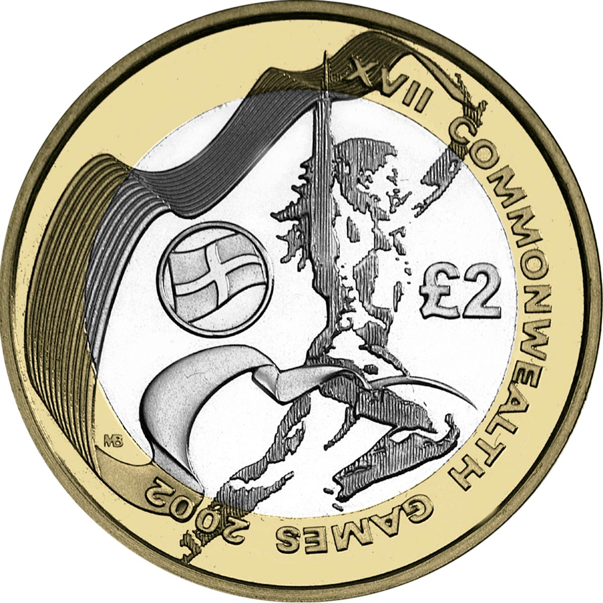Image of 2 pounds coin - Commonwealth Games, Manchester (English issue) | United Kingdom 2002.  The Bimetal: CuNi, nordic gold coin is of Proof, BU, UNC quality.