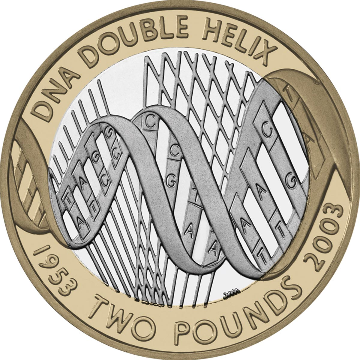 Image of 2 pounds coin – 50th anniversary of the discovery of the structure of DNA | United Kingdom 2003.  The Bimetal: CuNi, nordic gold coin is of Proof, BU, UNC quality.