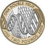 2 pound coin 50th anniversary of the discovery of the structure of DNA | United Kingdom 2003