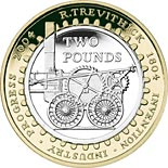 2 pound coin Bicentenary of the first railway locomotive | United Kingdom 2004