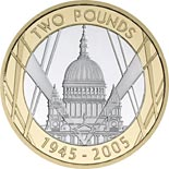 2 pound coin 60th anniversary of the end of the Second World War | United Kingdom 2005