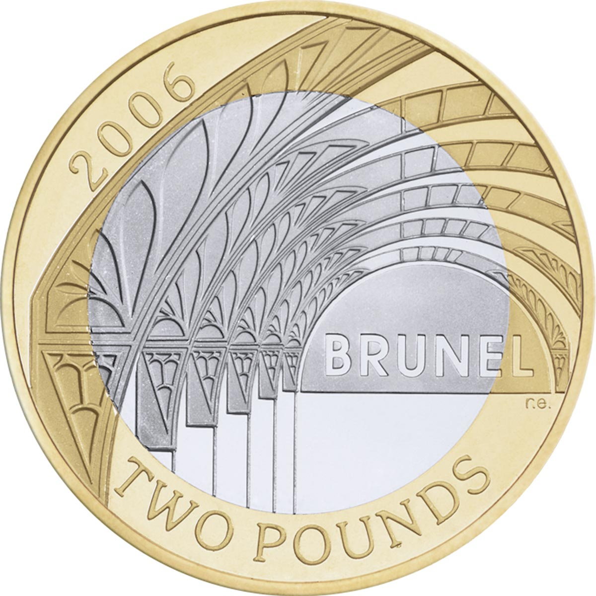Image of 2 pounds coin - Bicentenary of the birth of Isambard Kingdom Brunel - Paddington Station | United Kingdom 2006.  The Bimetal: CuNi, nordic gold coin is of Proof, BU, UNC quality.