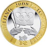 Image of London 2012 Olympiad Handover – 2 pound coin United Kingdom 2008.  The Bimetal: CuNi, nordic gold coin is of Proof, BU, UNC quality.