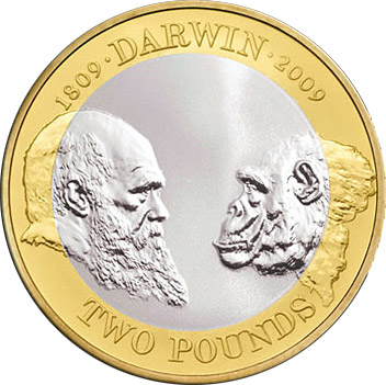Image of a coin 2 pounds | United Kingdom | 200th anniversary of the birth of Charles Darwin and the 150th anniversary of publication of The Origin of Species | 2009