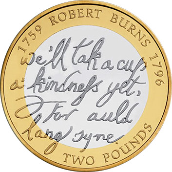 Image of a coin 2 pounds | United Kingdom | 250th anniversary of the birth of Robert Burns | 2009