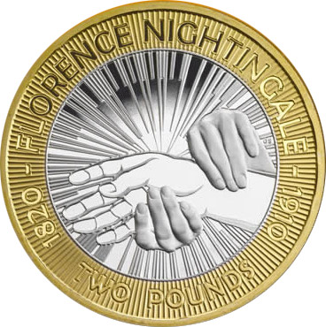 Image of 2 pounds coin – 100th anniversary of the death of Florence Nightingale and the 150th anniversary of publication of Notes on Nursing | United Kingdom 2010.  The Bimetal: CuNi, nordic gold coin is of Proof, BU, UNC quality.