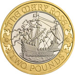 2 pound coin 500 years since the maiden voyage of Mary Rose  | United Kingdom 2011