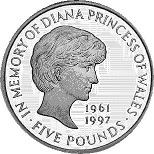 Image of 5 pounds coin - Diana, Princess of Wales Memorial Crown  | United Kingdom 1999.  The Copper–Nickel (CuNi) coin is of BU quality.