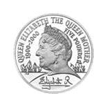Image of 5 pounds coin – 100th Birthday of Queen Elizabeth The Queen Mother | United Kingdom 2000.  The Copper–Nickel (CuNi) coin is of BU quality.