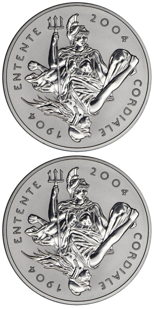 5 pounds Entente Cordiale between Great Britain and France 100th Anniversary  - 2004 - Series: Silver 5 pounds coins - United Kingdom
