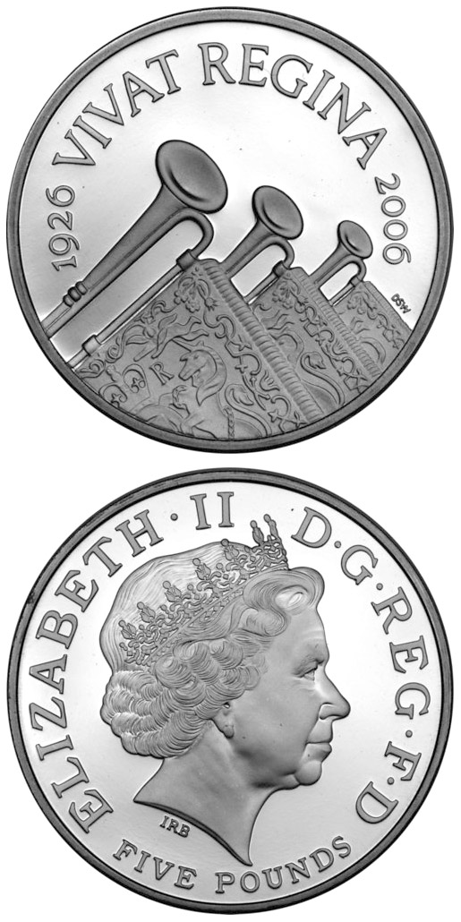 Image of 5 pounds coin - The Queen's 80th birthday | United Kingdom 2006.  The Copper–Nickel (CuNi) coin is of BU quality.