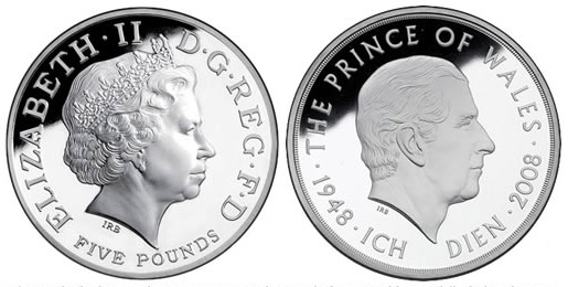 5 pounds | United Kingdom | The 60th Birthday of The Prince of Wales | 2008