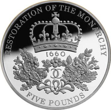 Image of 5 pounds coin - The 350th anniversary of the Restoration of the Monarchy | United Kingdom 2010.  The Copper–Nickel (CuNi) coin is of BU quality.