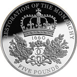 5 pound coin The 350th anniversary of the Restoration of the Monarchy | United Kingdom 2010