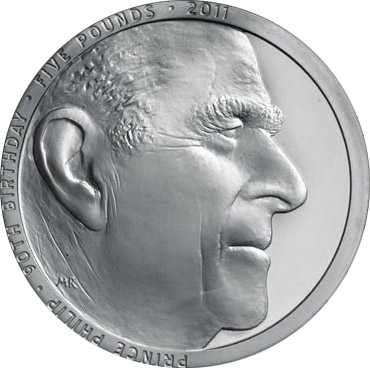 Image of 5 pounds coin - Prince Philip 90th Birthday | United Kingdom 2011.  The Copper–Nickel (CuNi) coin is of BU quality.