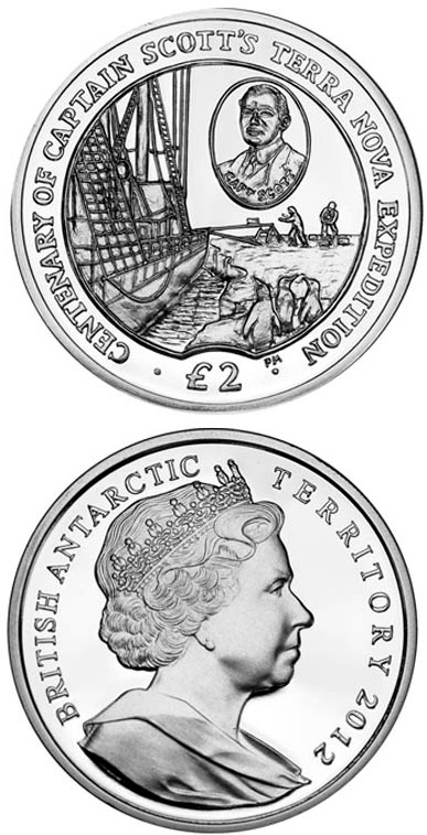 Image of 2 pounds coin – Terra Nova Expedition | United Kingdom 2012.  The Silver coin is of Proof, UNC quality.