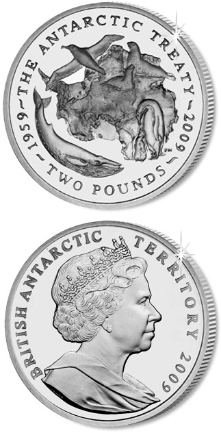Image of 50th Anniversary of the Antarctic Treaty – 2 pound coin United Kingdom 2009.  The Silver coin is of Proof, UNC quality.