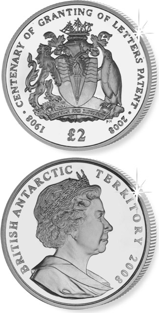 Image of 2 pounds coin - World's First Antarctic | United Kingdom 2008.  The Silver coin is of Proof, UNC quality.
