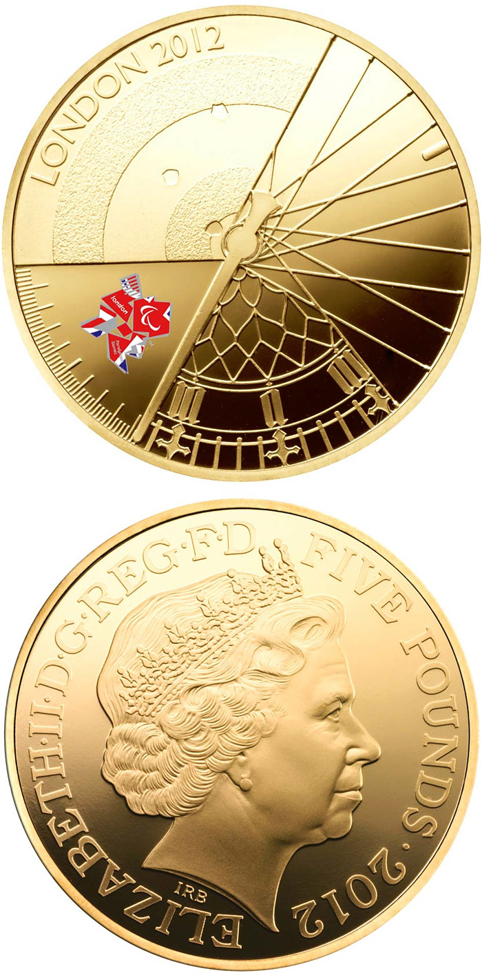 Image of 5 pounds coin - London 2012 Paralympic Games | United Kingdom 2012.  The Gold coin is of Proof quality.