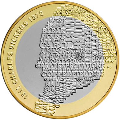 Image of 2 pound coin 200th anniversary of the birth of Charles Dickens | United Kingdom 2012.  The Bimetal: CuNi, nordic gold coin is of Proof, BU, UNC quality.