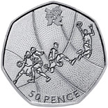 50 pence Basketball - 2011 - Series: London 2012 50p Sports Collection - United Kingdom